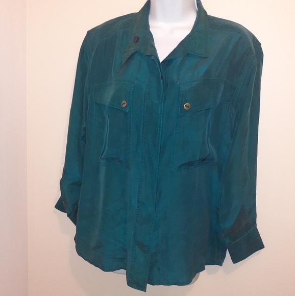 👚3 for $25👚100% Silk Shirt-Jade 🇨🇦Small-Medium